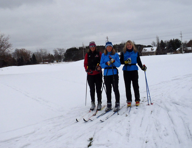 12-2-10 Bay Meadows Golf Course, Sara Cockrell, Paula Dreeszen & Nancy Briggs, 1st ski on classic waxless
