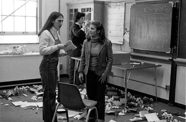 Crossroads 1981- Miriam and Barb organizing carnations