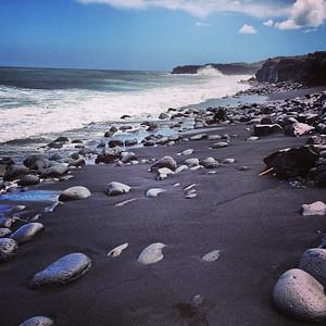 Volcanic black sand beach. via Instagram http://instagram.com/p/c-cYblBIUP/