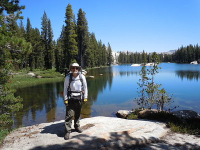 On Day 3, we don our backpacks and head off-trail.  Our first waypoint is Karl's Lake in a beautiful subalpine setting.  We almost decide to set up camp here, but decide to press on deeper into backcountry.