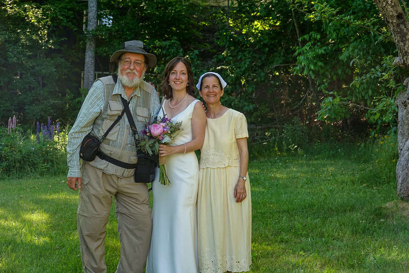 Emily with her parents.