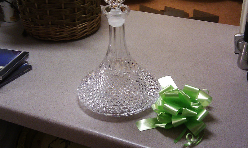 I was lucky enough to win this decanter in the Christmas raffle.