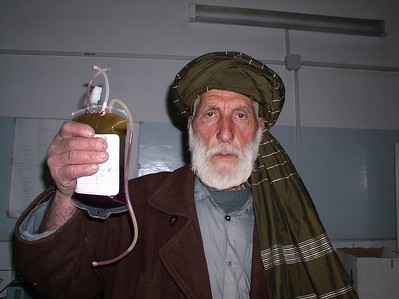 This is one of my favorite Afghan citizens. He is too old to donate blood but agreed to be the spokesman for blood donations by men. He is very poor and heads a huge household , working long hours at Rabia Balkhi.