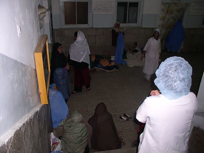 The lobby at night-time. What you must realize, the air temperature is 40 degrees and the women sleep on the cement floor.