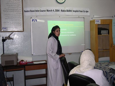 I am mentoring Dr. Fahima. Here she is teaching aiway management at our FIRST annual Neonatal resuscitation course for Kabul pediatricians.