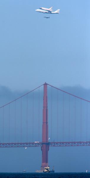 Endeavour flies over the Golden Gate Bridge in San Francisco on Sept. 21, 2012.