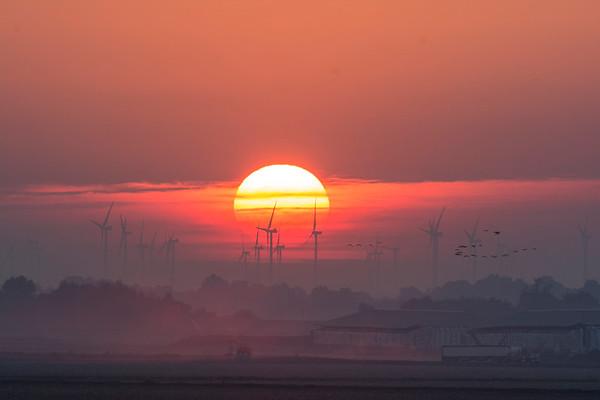 Sun and turbines