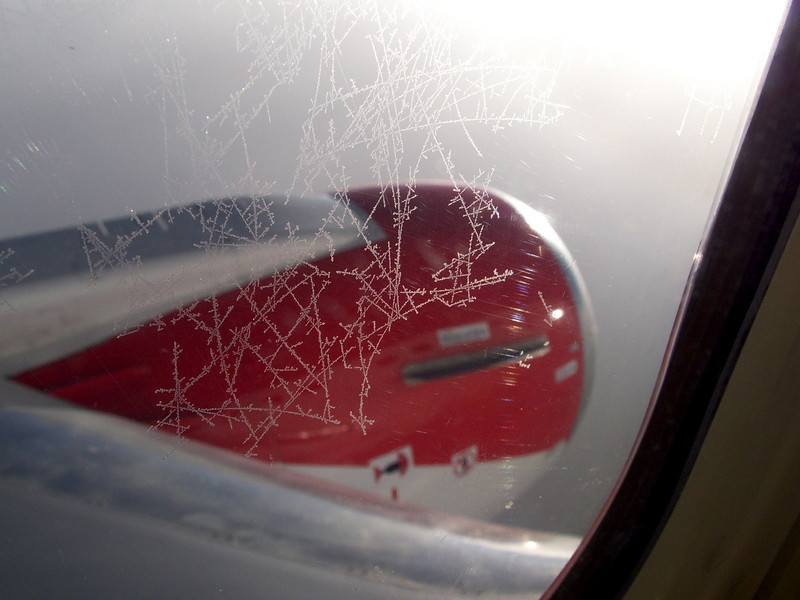 flight to England, ice crystals on the jet's window