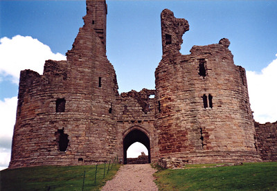 The gatehouse of Dunstanborough Castle in Northumbria.