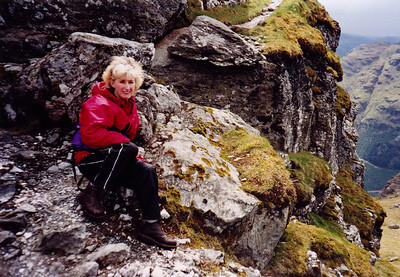 Lizzie takes a well deserved rest near the top.