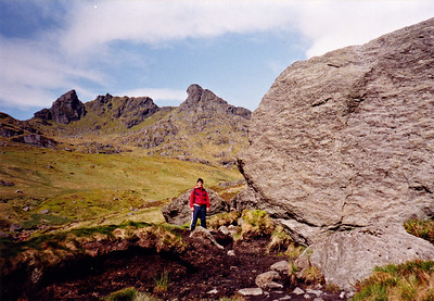 By the Narnain boulder on the way up the mountain.