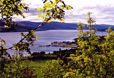 Hiking to the Bell Tower. Inverary in the distance.