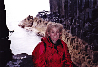 Lizzie inside Fingal's cave.