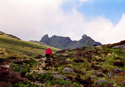 Lizzie heading towards the face of the Cobbler.
