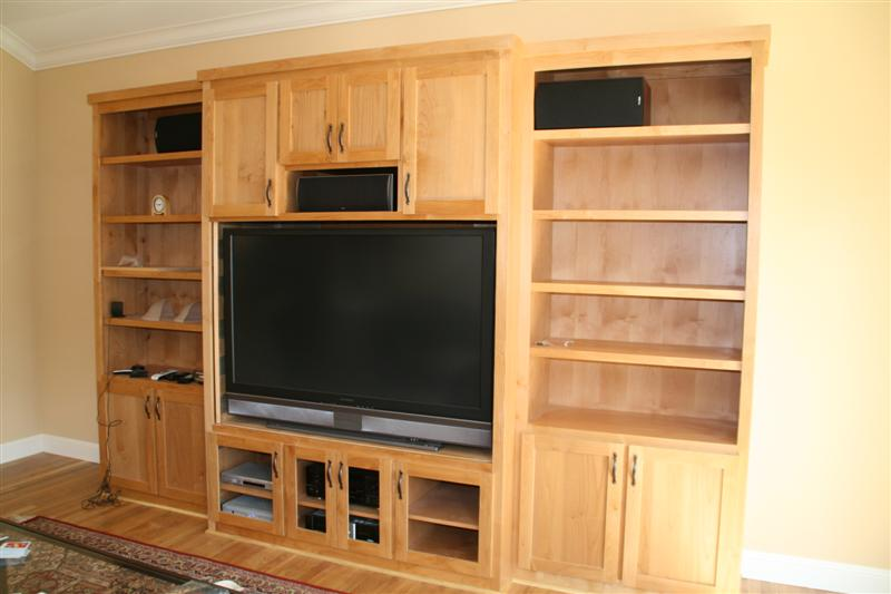 alder cabinet with shaker door natural finish