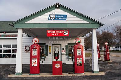 Vintage Texaco Gas Station in Dwight, Illinois