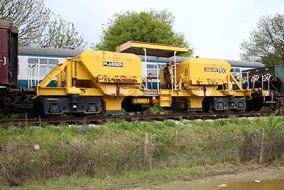 Ex Doklands Light Railway Motorised Ballast Hopper PO100 in North Weald Sidings   19/05/13.