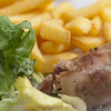 The local Loire sausage (Andouille) - very tasty too - & obligatory chips with everything