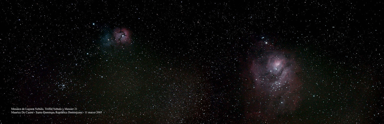 """Al, """"As you said you liked photos check this one attached of the region of Sagittarius where a  picture mosaic of M8 M20 & M21 captured all three in the same frame. Give it a  boost pan it and crop it up intill the sky turns black. We have a nice southern sky.  The credit again goes to my friend Maurice."""" ...""""Our city is not an architectural beauty and very few tourists come. Only the cruise boats  and for limited time. Electricity is a 'Big' problem. The whole city practically 'shuts off'  at night. That's why the M42 shot came out like it did. It was taken five miles from  the physical center of Santo Domingo, among the 'darkness' of a small city village."""" - Eric"""