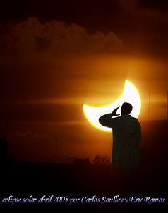 This amazing photo is of the Solar Eclipse of April 8, 2005 was sent to me by my good friend Eric Ramos of the Dominican Republic in the Caribbean. Eric has been in amateur astronomy since the 1960's and belongs to a local organization in his home town. Eric is such an interesting gentleman I have decided to dedicate this photo image site to him and all his friends and family to enjoy. Photo --- taken with an OLYMPUS DIGITAL CAMERA
