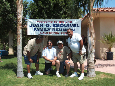 Some of the Esquivel Men by the Reunion sign:  (left to right) Sonny Esquivel, Eddie Esquivel, Eloy Esquivel, Charlie Esquivel