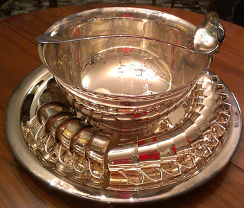 Large Gorham silverplated punch bowl with Wallace cups and ladle.