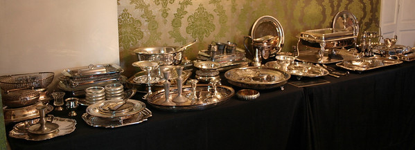 SIlverplate including many serving trays, large silverplated platter, immaculate, heavy Bristol silverplated chafing dish, bowls and more.   Sterling includes salt and pepper, several candelabra and candlesticks, bowls, and large flatware service.