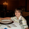 Here is Evrett at his formal place setting..