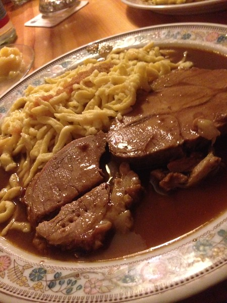 """""""Gemischter Braten"""" . As """"Swabian"""" a meal as it could be. Pork and Beef Roast with Spaetzle and potatoe salad."""