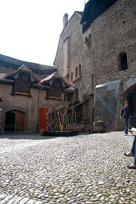 Inside the first courtyard of Chillon Castle.