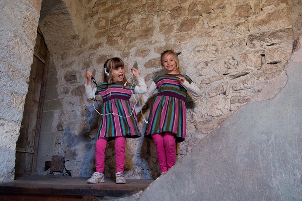 The girls dancing (to the audio tour music) in Chillon Castle.