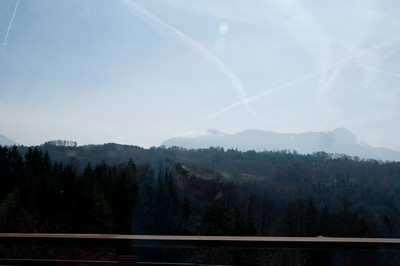 Driving from France to Switzerland along Lake Geneva - beautiful mountains.  Taken from the car.