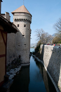 On the bridge to Chillon Castle.