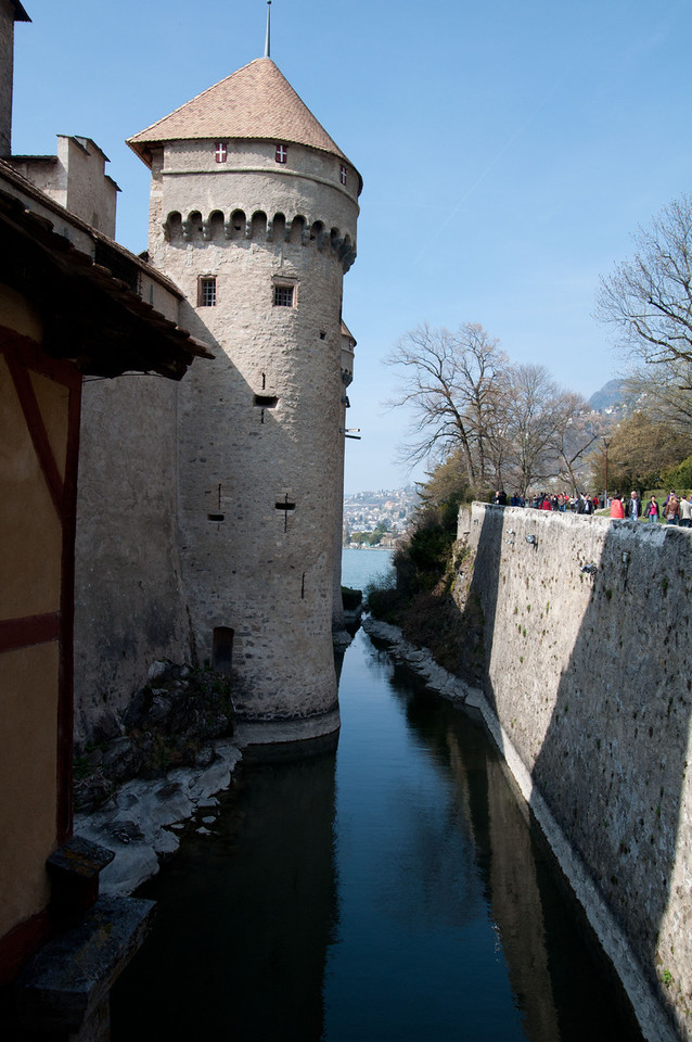 On the bridge to Chillon Castle.