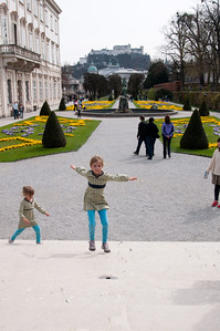 Jumping up and down the stairs singing do-re-mi where they filmed this scene in the movie (Mirabel gardens)