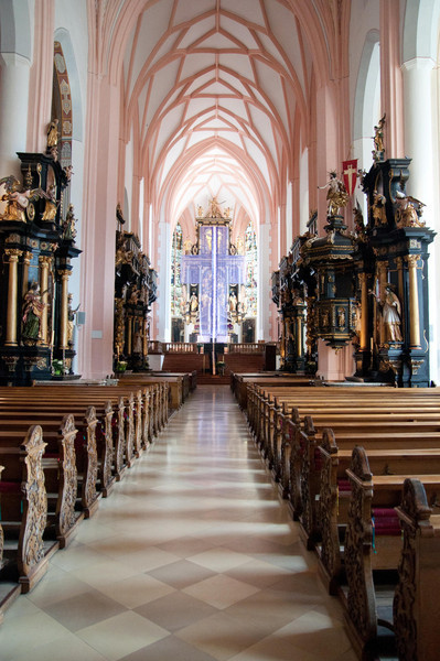Inside the wedding church in Mondsee Austria where Maria and the Captain got married in the Sound of Music.  In actuality they were wed at Nonberg Abbey.