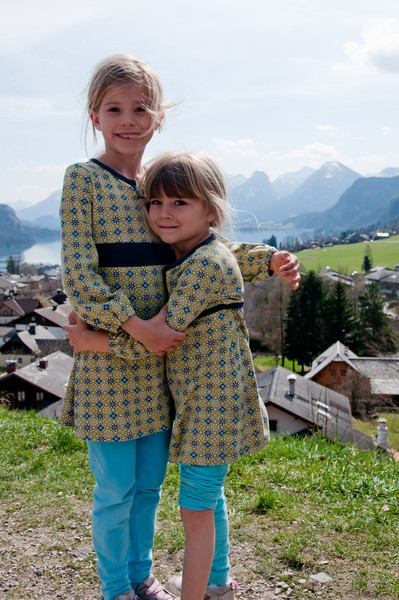 Elisabeth and Charlotte with beautiful scenery.  Mondsee, Austria.
