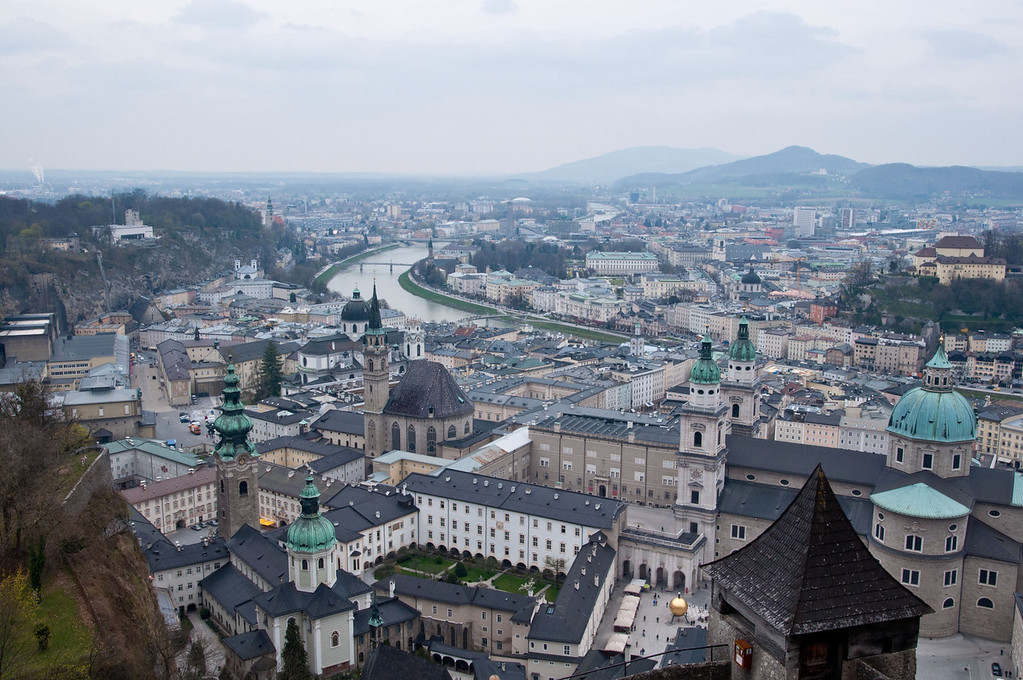A beautiful view of Salzburg from atop Salzburg castle.  We went out on this terrace right at noon and all of the church bells were ringing.  It was amazing.