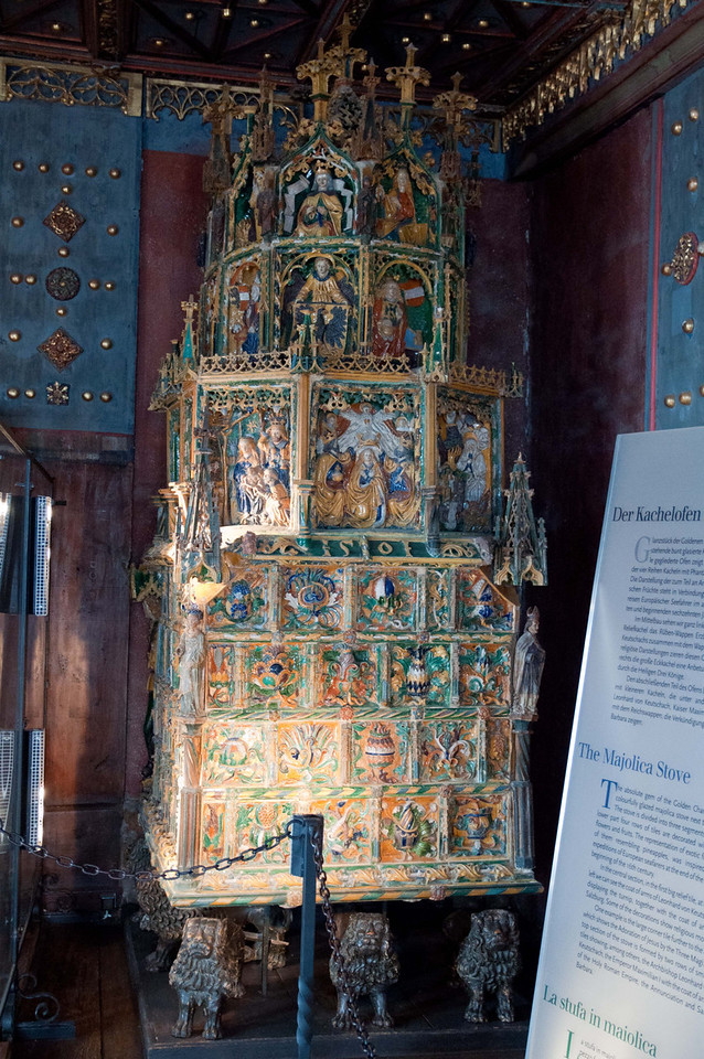An ornate stove in Salzburg castle