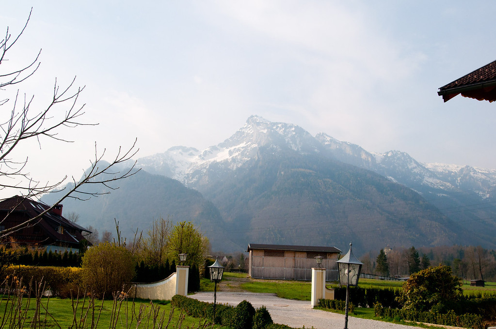The view from our hotel... this is the mountain that the Von Trapps escaped over in the movie the Sound of Music.
