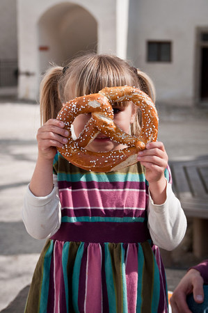 Charlotte was promised a pretzel as big as her head by her teacher from next year.  I think we succeeded!