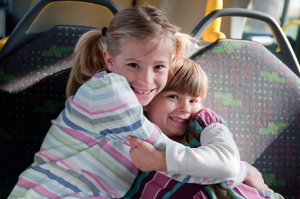 Elisabeth and Charlotte getting along and looking cute on the bus down to Salzburg.