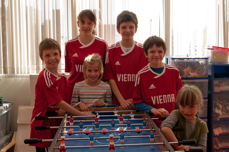 The Guilhot kids:  L-R:  Simon, Clemence, Pierre-Antoine, Benoit with Elisabeth and Charlotte.