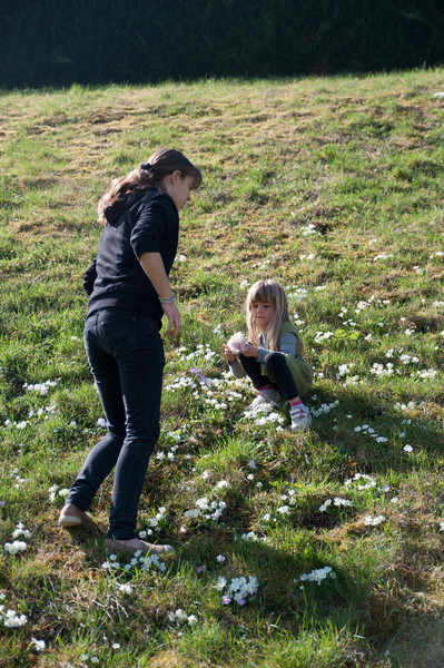 Charlotte and Clemence pick flowers in St. Etienne.