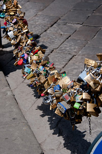 Florence, Italy, Love Padlocks.  Keys are thrown into the Arno River.