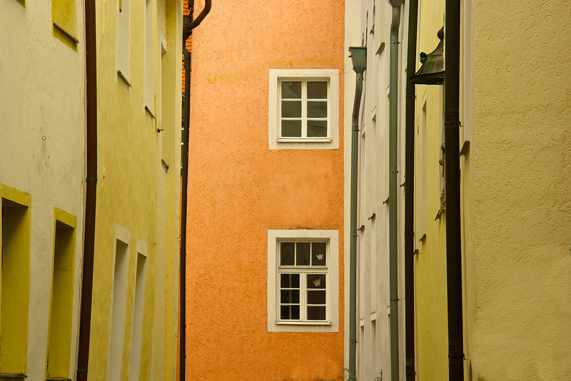 Colorful alley in Passau Germany.