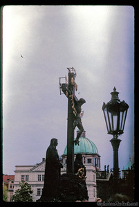 A sculpture of Jesus on the cross on the Charles River Bridge in Prague. Taken in 1995