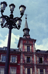 A clock tower in Plaza Mayor, Madrid. Taken in 1995.