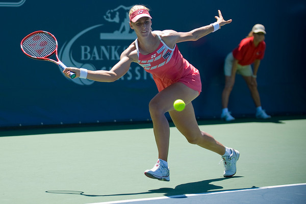 31 July 2009:  Elena Dementieva (RUS) during her 6-2, 6-4 victory over Daniela Hantuchova (SVK) in their singles match at the Bank of the West Classic in Stanford, CA.