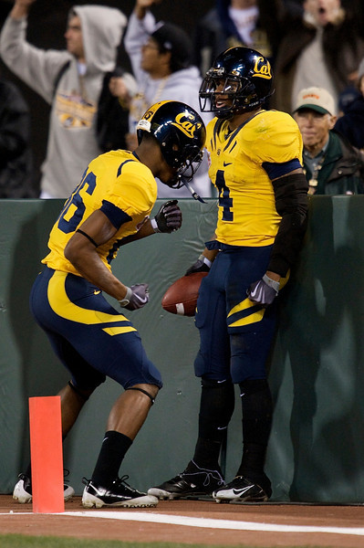 27 December 2008:  California Golden Bears wide receiver Verran Tucker (86) celebrates a touchdown with running back Jahvid Best (4) after Best's short run during the first half of the 2008 Emerald Bowl between the Golden Bears and the Miami Hurricanes at AT&T Park in San Francisco, California.  The Golden Bears prevailed 24-17 over the Hurricanes.